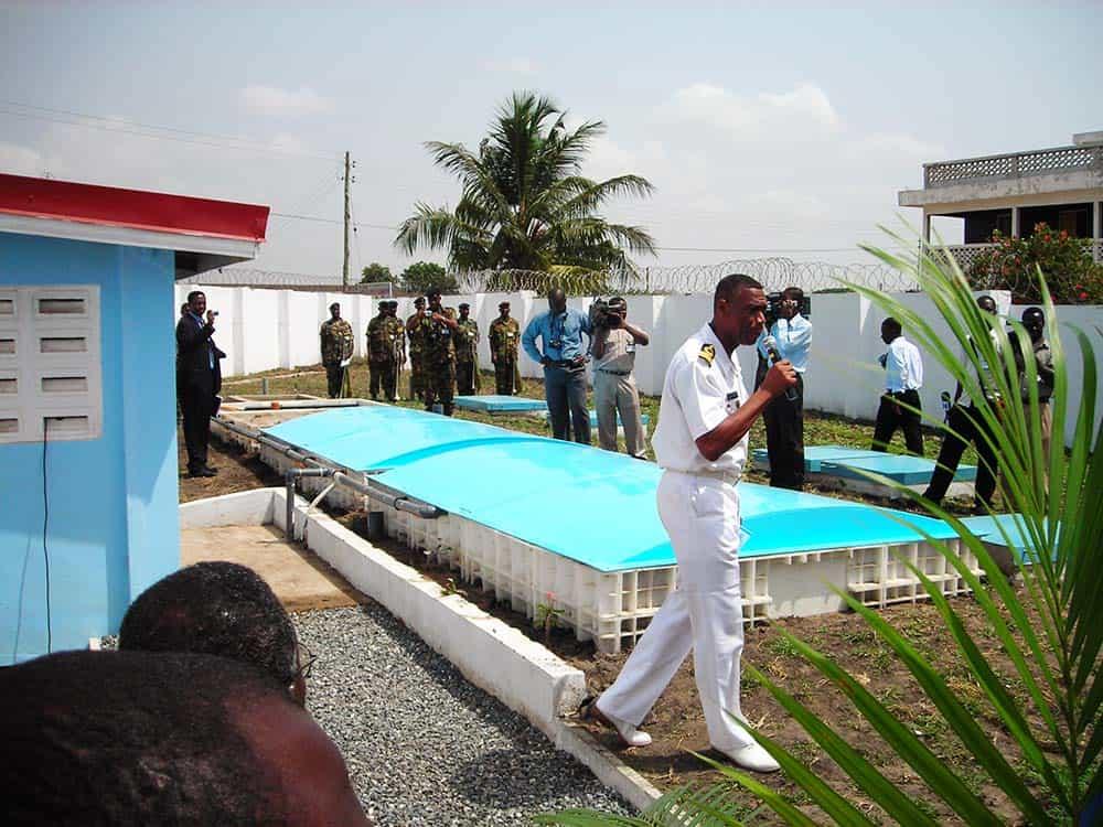 BioKube Jupiter three chamber wastewater system under installation at KAIPTC UN officers training Center in Ghana