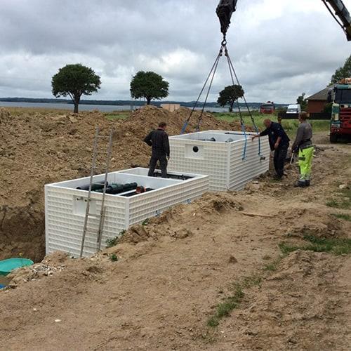 BioKube Jupiter under installation at campsite in Denmark
