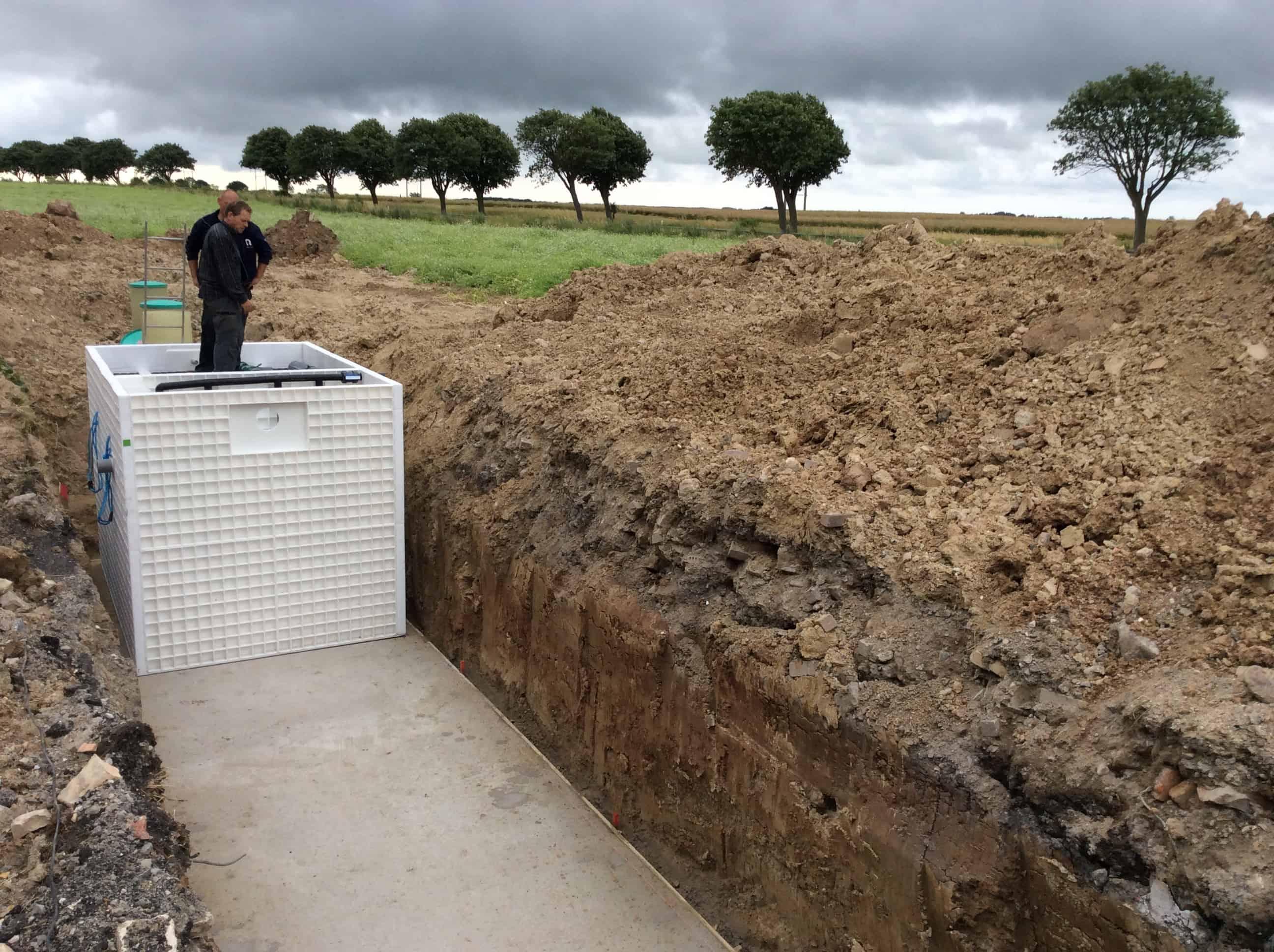 BioKube Jupiter three chamber wastewater system under installation at camp site in Denmark